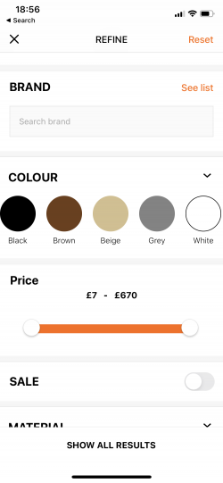 zalando mobile app supports accessibility for color blind people by addind color description under the color circle