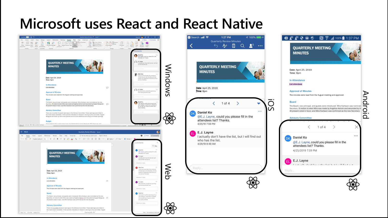 Microsoft uses react native to share code between different platforms