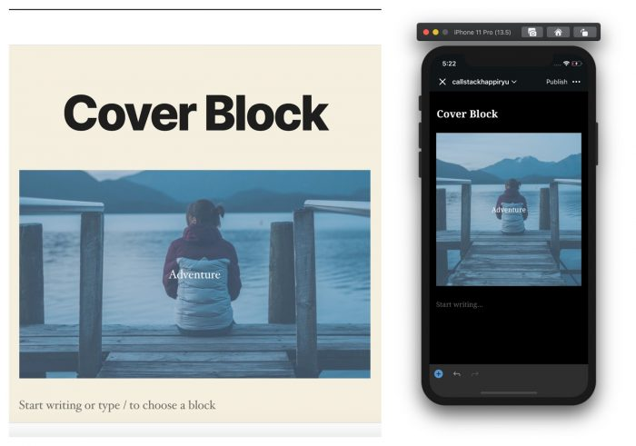 cover block in gutenberg editor