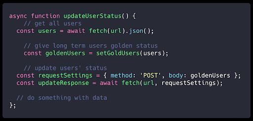 screenshot presenting async function