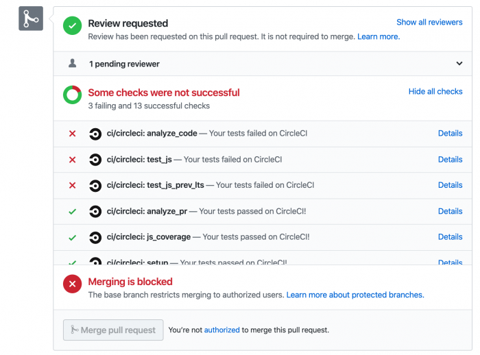 Github UI reporting the status of CircleCI jobs, an example taken from React Native repository