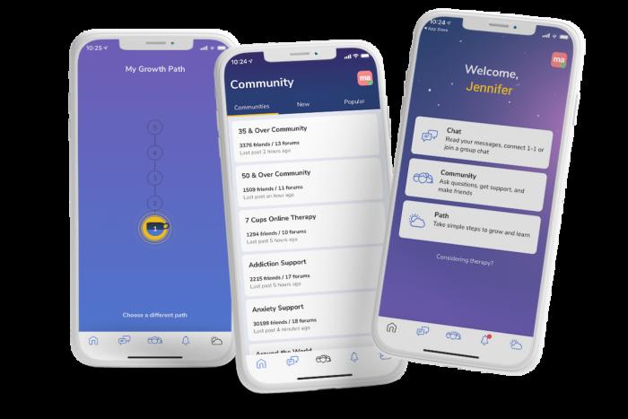 phone screens displaying 7 Cups app